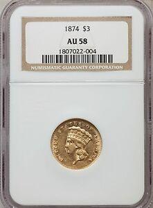 1874 $3 AU58 NGC (1096)