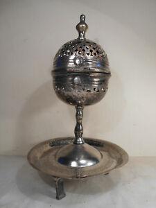 Ancien Brule Encens Parfum Métal Arenté Oriental Ottoman Turc Arabe Haute Époque