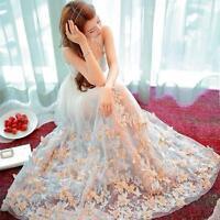 fashion Elegant Women Spring Summer Floral Embroidery Long Dress Wedding Summer