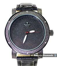 mens big black clubbing watch white CZ bezel black dial black leather strap maxx