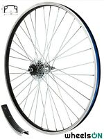 700c wheelsON Rear wheel + 7 Speed  Freewheel Black/Silver 36 H
