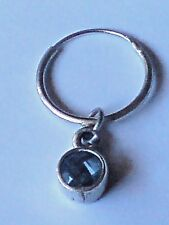 STERLING SILVER SINGLE 15 mm.EARRING with 4mm.ROUND BLUE TOPAZ STONE £9.50 NWT
