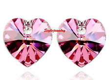 White Gold Filled Pink Crystal Pink Heart Wedding Stud Earring XE44