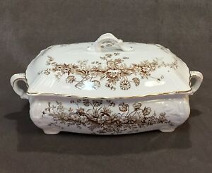 1888 John Edwards Fenton Brown Transferware Princess Covered Casserole