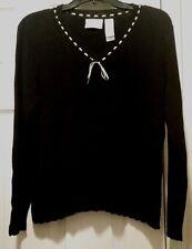 Liz Claiborne Black V Neck With Tan Ribbon Sweater Women's Size M Petite PM