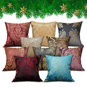 """18""""x18"""" Jacquard Floral Damask Cushion Covers OR Filled Cushions Sofa Pillows"""