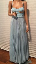 $2925 NWT Auth VERSACE Collection Medusa Blue Bustier Evening Maxi Gown Dress 38