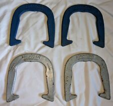Set of FOUR (4) Vintage AMERICAN PROFESSIONAL Pitching HORSESHOES  Blue & Silver