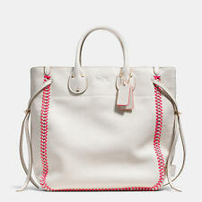 NWT COACH TATUM TALL TOTE IN WHIPLASH LEATHER F35156 CHALK NEON PINK