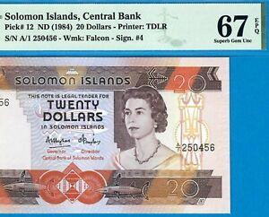 SOLOMON ISLANDS-20$-1984-PREFIX A/1-S/N 250456-P.12 **PMG 67 EPQ SUPERB GEM UNC*