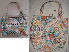 """Oilily Floral Geometric Logo Foldable Pouch Tote Shopping Bag 15.5x13x6"""" Medium"""