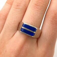 925 Sterling Silver Vintage Mexico Lapis Lazuli Gemstone Ring Size 10