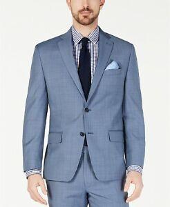 Michael Kors Classic-Fit Airsoft Stretch Blue Windowpane Wool Suit Jacket 50Reg