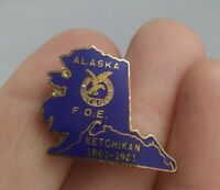 Vintage Alaska FOE Fraternal Order Eagles Club pinback button pin *EE91