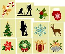 """Stencil """"Set 6 """" 12Pc Shelf Sitter Set - Shapes Christmas Reusable Sign Stencils"""
