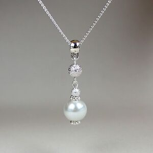 White pearl silver chain pendant necklace party wedding bridesmaid gift