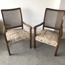 Pair of Vintage Cane Rattan Wooden Chairs Tiki Antique