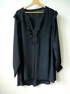 Ex Evans Black Ruffle Trim Button Front Cami Underlay Shirt/Blouse PlusSize16-24