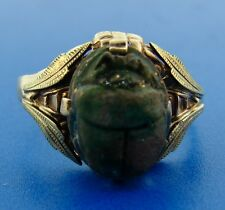 Egyptian Revival 10k Yellow Gold Victorian Ring with Scarab