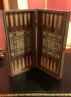 Large Antique Syrian Marquetry Mother Of Pearl Chess - Backgammon Board
