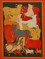 Indian Holy Cows Miniature Painting ArtWork Handmade Paper Colors Detailed India