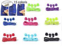 Paire de lacets élastique autobloquants pour Enfants Adultes - 15 coloris