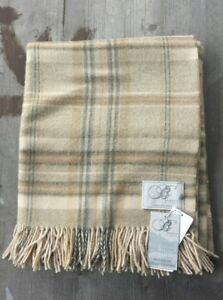 Bronte by Moon UK 100% Merino Wool Throw – Beige / Brown / Gray Tartan – New