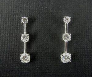 Three Cubic Zirconia Stones in a Row Sterling Silver 925 Pierced EARRINGS