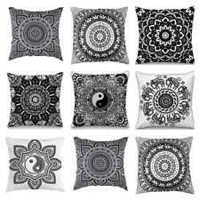 """Black & White Indian Mandala Geometric Cushion Cover Pillow Boho Sofa Square 16"""""""