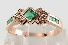 9CT 9K ROSE GOLD EMERALD & DIAMOND ETERNITY ART DECO INS RING FREE RESIZE