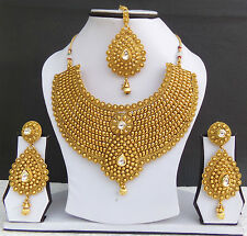Indian Jewelry Necklace Earrings Bollywood Gold Plated Bridal Polki Tikka Set cx