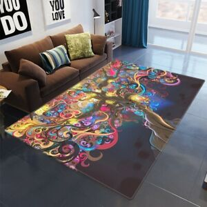 Psychedelic Colorful Tree Sexy Carpet Area Rugs Floor Mat Badroom Carpets Decor