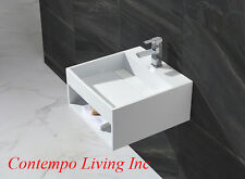 20-Inch Stone Resin Solid Surface Square Shape Bathroom Vanity Vessel Sink