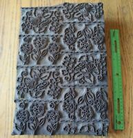 "Antique Printing Block Stamp Wooden Hand Carved Textile Floral Wood Large 15""x10"