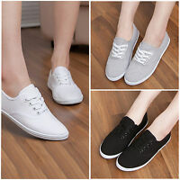 Classic Womens Ladies Canvas Tennis Sport Shoes Plimsoll Casual Sneakers