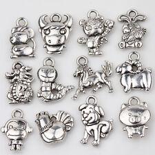 12PC Tibetan Silver Twelve Zodiac Charms Pendants Jewelry Findings