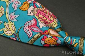 """HERMES SCARF PRINT Blue Novelty Floral 100% Silk Mens Luxury Tie - 3.625"""""""