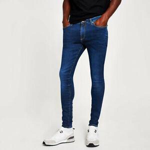 River Island Mens Dark Blue Ollie Spray On Skinny Jeans