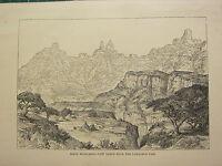 C1890 Antico Stampa ~ Simen Highlands ~ Vista Da Lamalmon Passaportp