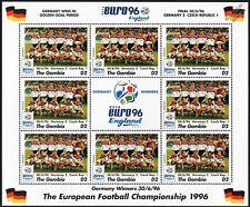 GERMANY WINNERS - EURO 96 UEFA Championship Football Stamp Sheet (1996 Gambia)