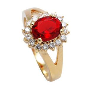 Ah! Jewellery® Women's Ruby 18kt Genuine Gold Filled Ring,  UK Guarantee: 3 µ