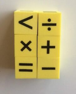 6 x Foam Dice Mathematics Symbols lightweight, no noise Maths stocking fillers