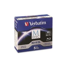 Verbatim M-DISC 50GB Blu-ray BDR-DL 6X Permanent Data Archival Blank Media-5pk
