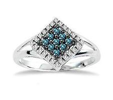 Blue Diamond Ring 10K White Gold Blue & White Diamond Cluster Ring .25ct