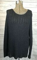 J. Jill Womens Sweater Pullover Cotton Blend Black Long Open Knit Long Tunic