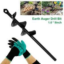 More details for power garden auger earth drill bit post hole digger planter ourdoor+gloves set .