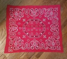 Vtg 50s Elephant Trunk Up Turkey Red Cotton Bandanna Fast Color Selvedge Edge