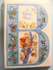 "Vintage Hallmark ""B"" Baby Boy Announcement Cards Pkg 8 Envelopes"