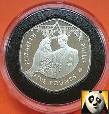 2007 ALDERNEY £5 Pounds Diamond Wedding Elizabeth & Philip Silver Proof Coin