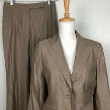 Ann Taylor Tan Pink Stripe Pant Suit Womens sz 6 Jacket 30 x 31.5 Lined Pants